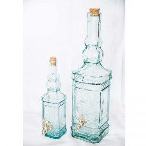 Staklena flaša sa slavinom (reljefna)